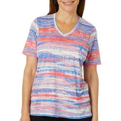 Cathy Daniels Womens Printed Burnout Stripe Short Sleeve Top