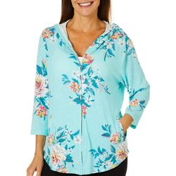 Cathy Daniels Womens Heathered Painted Floral Zip Up Hoodie