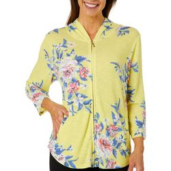 Cathy Daniels Womens Heathered Painted Floral Zip Up