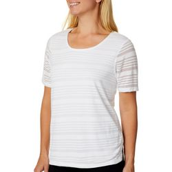 Cathy Daniels Womens Striped Scoop Neck Top