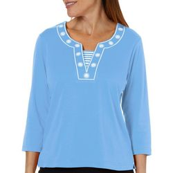 Cathy Daniels Womens Embroidered Neck Top