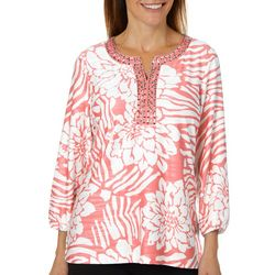 Cathy Daniels Womens Tropical Floral Jewel Neck Top