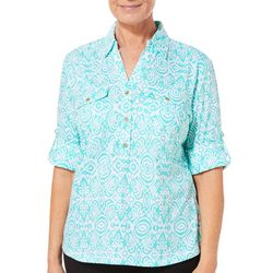 Cathy Daniels Womens Tribal Print Roll Tab Top