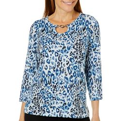 Cathy Daniels Womens Embellished Animal Print Chain Link Top