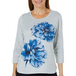 Cathy Daniels Womens Embellished Blooming Floral Top