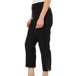 Cathy Daniels Womens Split Embellished Hem Ankle Pants