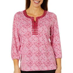 Cathy Daniels Womens Scroll Damask Jeweled Neck Top