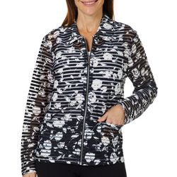 Cathy Daniels Womens Floral Burnout Zip Up Jacket