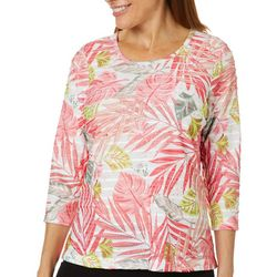 Cathy Daniels Womens Textured Tropical Palm Leaf Top