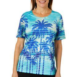 Cathy Daniels Womens Tropical Palm Burnout Striped Top