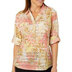 cb0bdea5dc7124 Cathy Daniels Womens Tropical Leaf Sheer Stripe Top