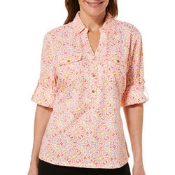 Cathy Daniels Womens Scroll Damask Roll Tab Top