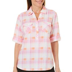 Cathy Daniels Womens Textured Plaid Double Pocket Top