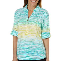 Cathy Daniels Womens Ombre Striped Roll Tab Top