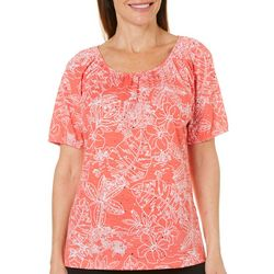 Cathy Daniels Womens Embellished Tropical Floral Top