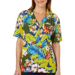 Cathy Daniels Womens Palm Print Button Down Short