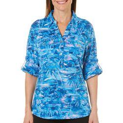 Cathy Daniels Womens Tropical Palm Burnout Top