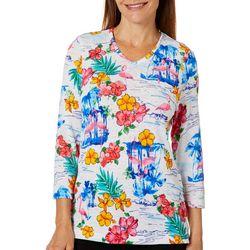Cathy Daniels Womens Embellished Island Flamingo Top