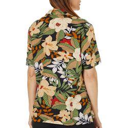Cathy Daniels Womens Tropical Button Down Short Sleeve Top