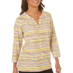 Cathy Daniels Womens Striped Button Top