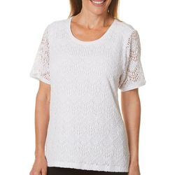 Cathy Daniels Womens Damask Lace Top