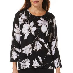 Cathy Daniels Womens Embellished Floral Sweater