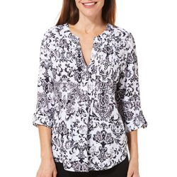 Cathy Daniels Womens Scroll Print Roll Tab Top