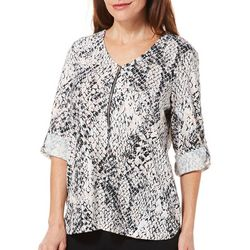 Cathy Daniels Womens Mixed Geometric Print Roll Tab