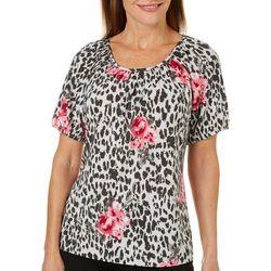 Cathy Daniels Womens Embellished Floral Cheetah Print Top