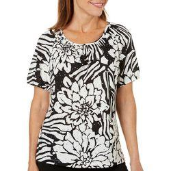 Cathy Daniels Womens Embellished Floral Zebra Print Top