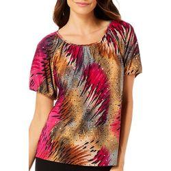 Cathy Daniels Womens Embellished Disco Print Top