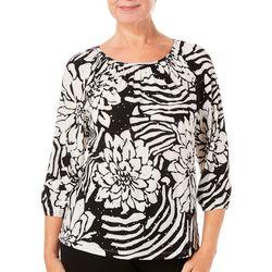 Cathy Daniels Womens Floral Zebra Print Top
