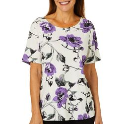 Cathy Daniels Womens Textured Floral Print Short Sleeve Top