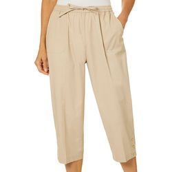 Cathy Daniels Womens Pull On Button Hem Capris