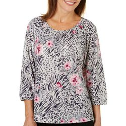 Cathy Daniels Womens Floral Animal Print Glitter Top