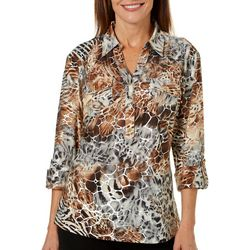 Cathy Daniels Womens Mixed Animal Print Roll Tab Top