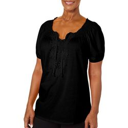 Cathy Daniels Womens Solid Daisy Embroidered Keyhole Top