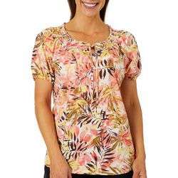 Cathy Daniels Womens Tropical Palm Leaf Top