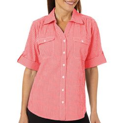 Cathy Daniels Womens Gingham Button Down Top
