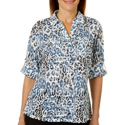 Cathy Daniels Womens Leopard Print Roll Tab Top