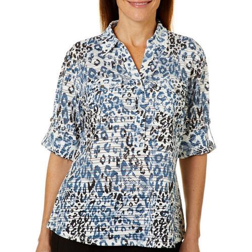 86cbd41e7aa Cathy Daniels Womens Leopard Print Roll Tab Top