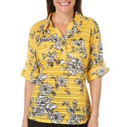 Cathy Daniels Womens Dotted Floral Roll Tab Top