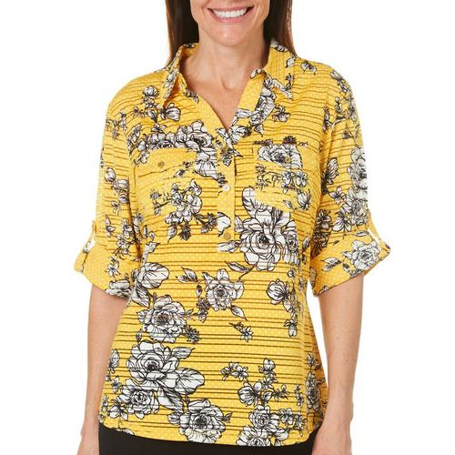 961afd628cda1 Cathy Daniels Womens Dotted Floral Roll Tab Top