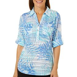 Cathy Daniels Womens Palm Print Burnout Stripe Top