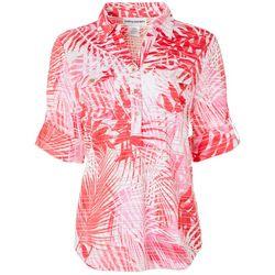 Cathy Daniels Womens Palm Print Burnout Stripe Top