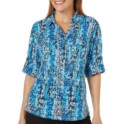 Cathy Daniels Womens Scatter Dot Print Roll Tab Top