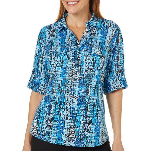 7b3fe5c2a27683 Cathy Daniels Womens Scatter Dot Print Roll Tab Top