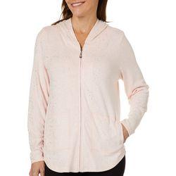Cathy Daniels Womens Foil Dots Zip Up Jacket