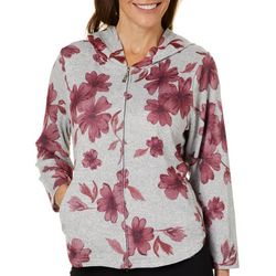 Cathy Daniels Womens Heathered Floral Zip Up Jacket