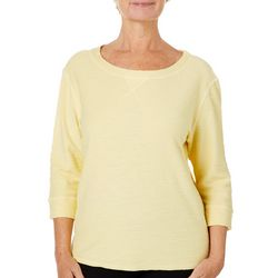 Hot Cotton Petite French Terry Solid Textured Slub Top